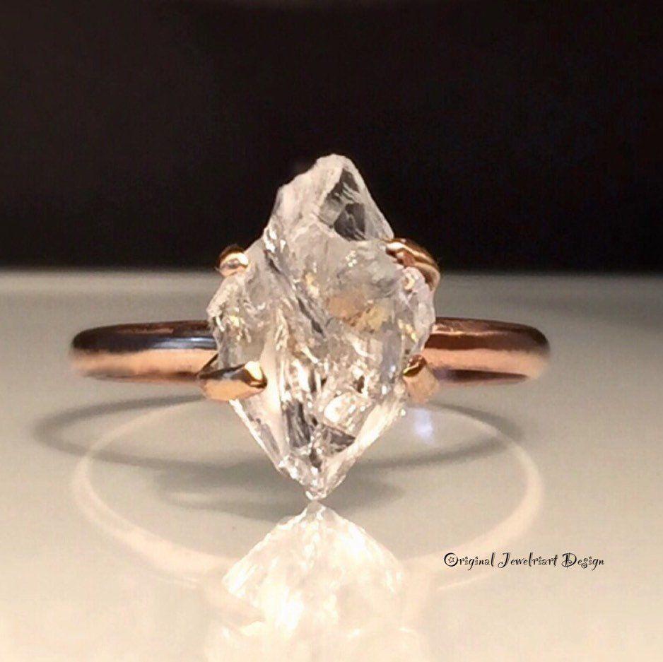 wedding Ring Raw Gemstone ring Raw Herkimer Diamond Ring For Woman Diamond Engagement Ring Raw Diamond Ring Raw Aquamarine Ring