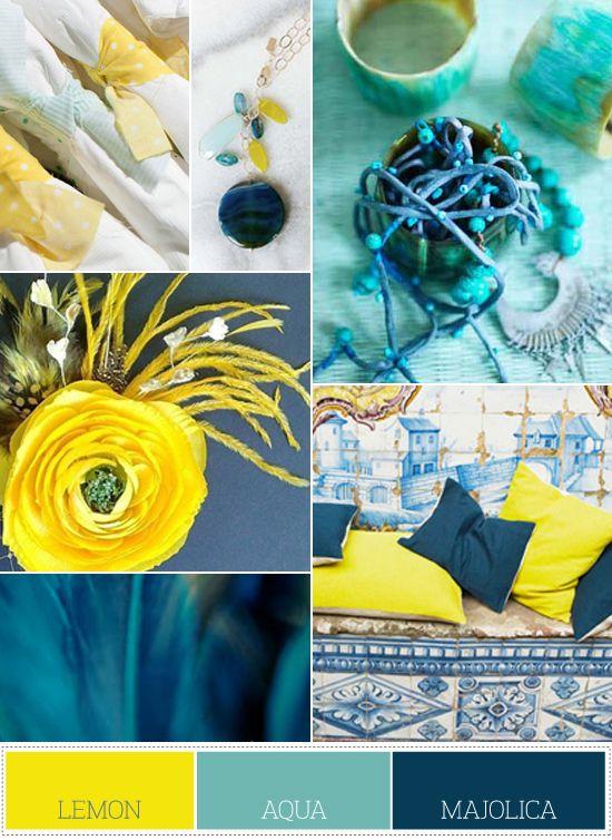 Blue Yellow Gray Color Palette Palette66 Lemon Aqua Majolica