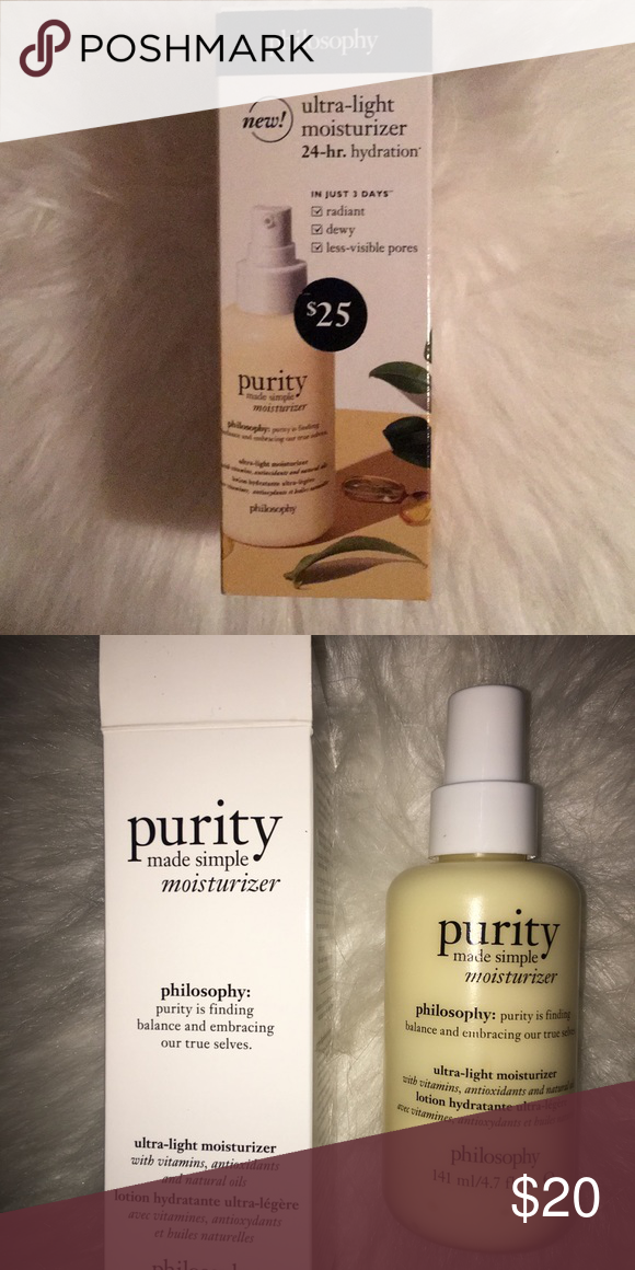 Last Chance Philosophy Purity Moisturizer Purity Philosophy Purity Made Simple