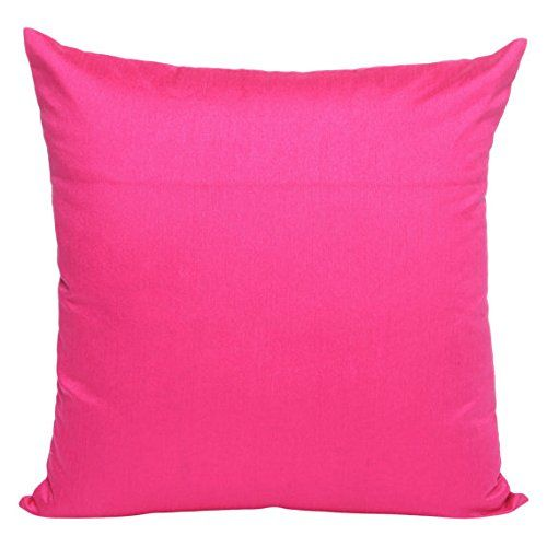 Set Of 2 Fuschia Pink Art Silk Pillow Covers Plain Silk Cushion
