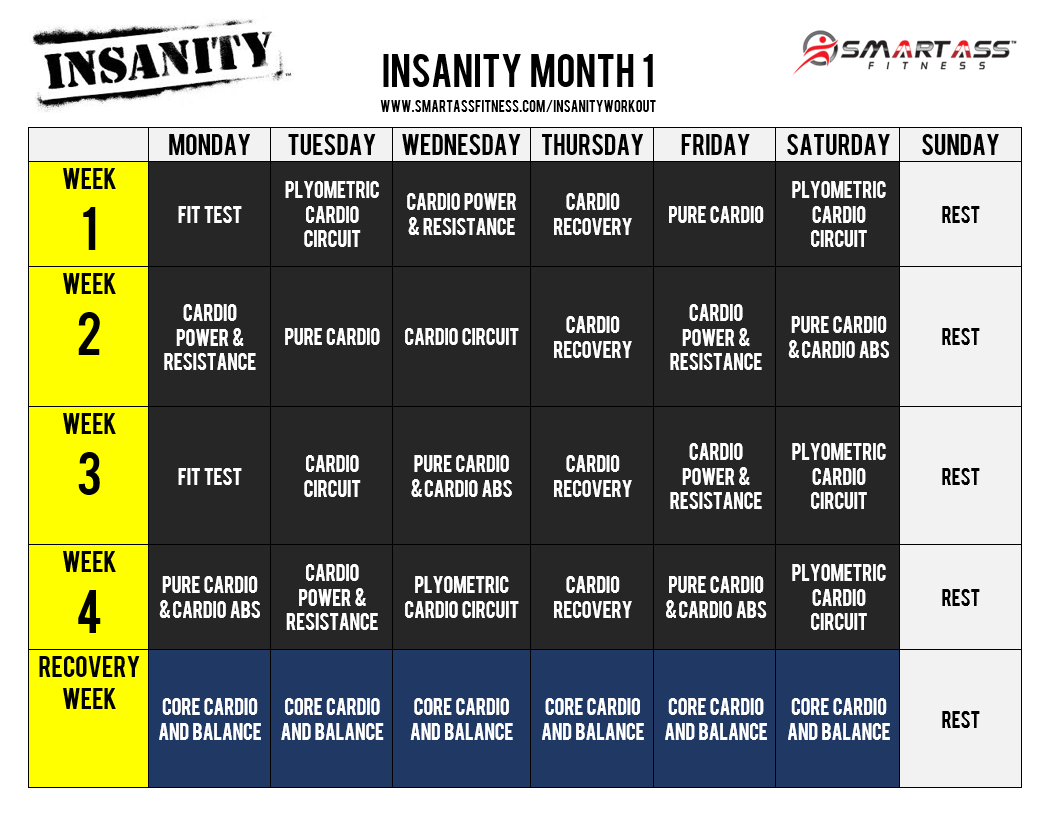 Insanity Workout Schedule  Me  For Exercise