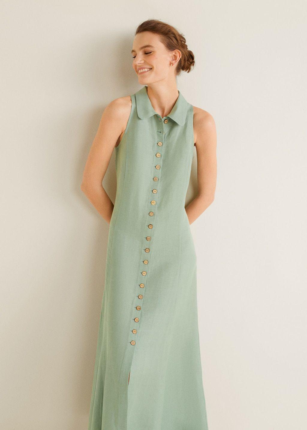 d39a5608cda Buttoned linen-blend dress - Women in 2019 | 255555 | Dresses ...