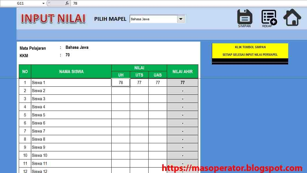 Aplikasi Vba Excel Input Plus Output Nilai Aplikasi Blog