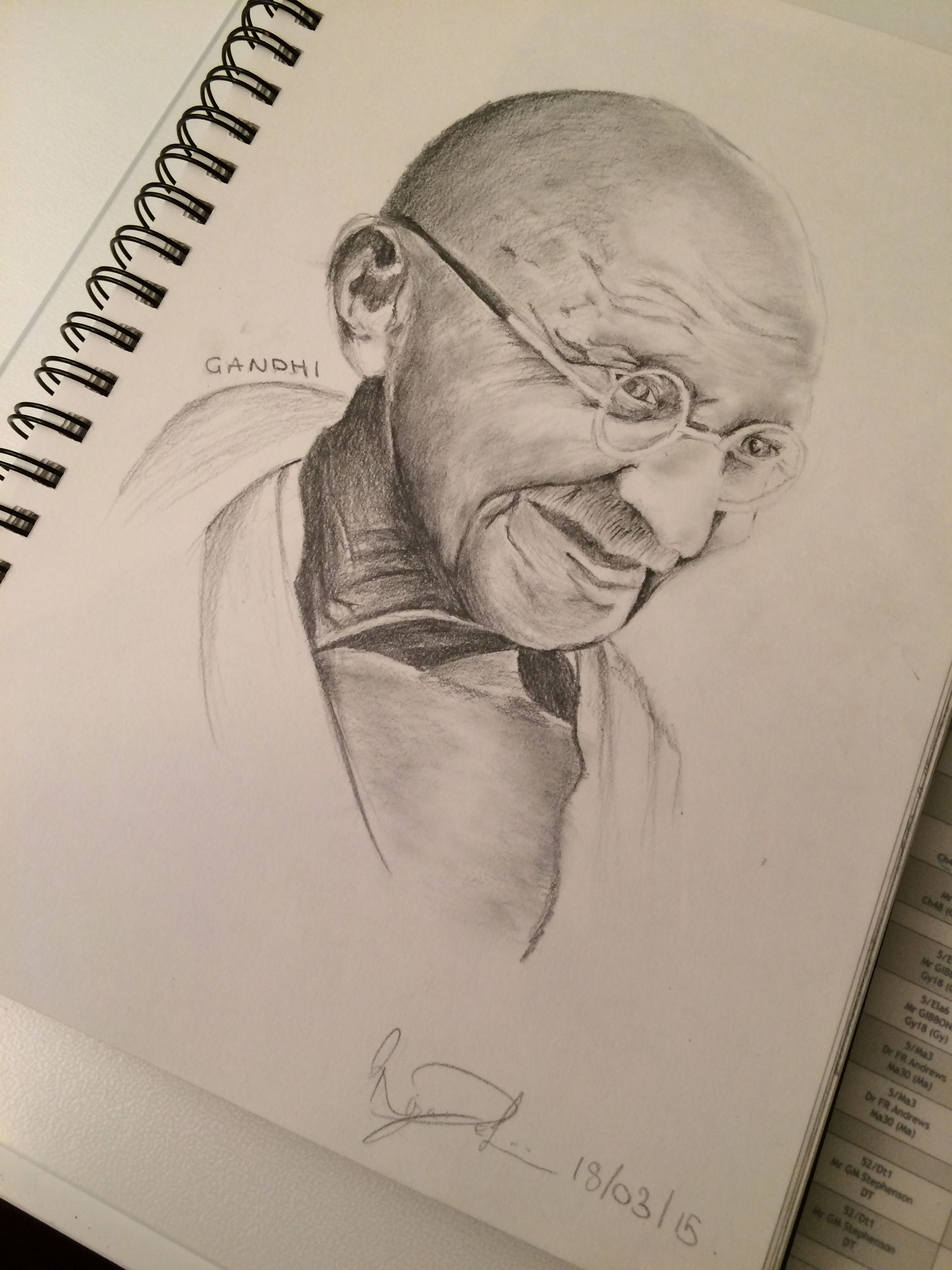 Colour Pencil Drawing Mahatma Gandhi Pencil Sketch