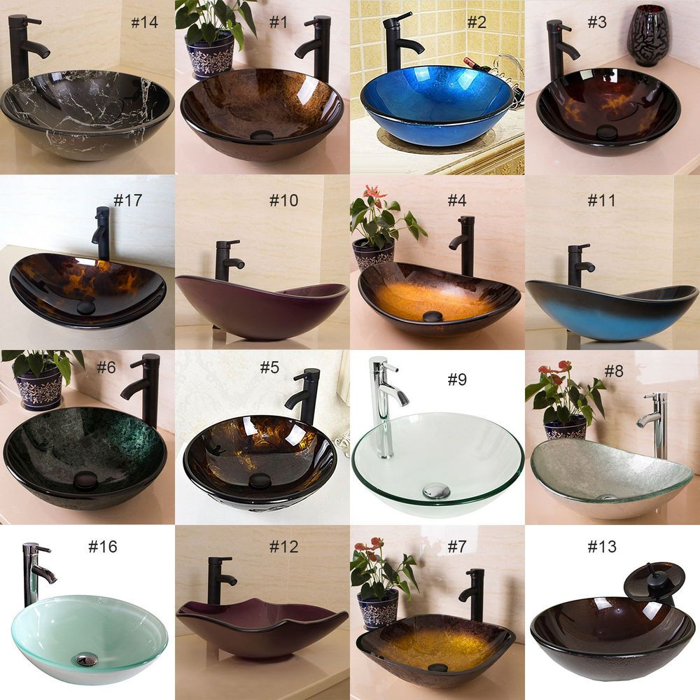 Bathroom Tempered Glass Vessel Sink Bowl Faucet Pop Up Drain Bath Basin Combo Glass Vessel Sinks Vessel Sink Bowls Glass Vessel