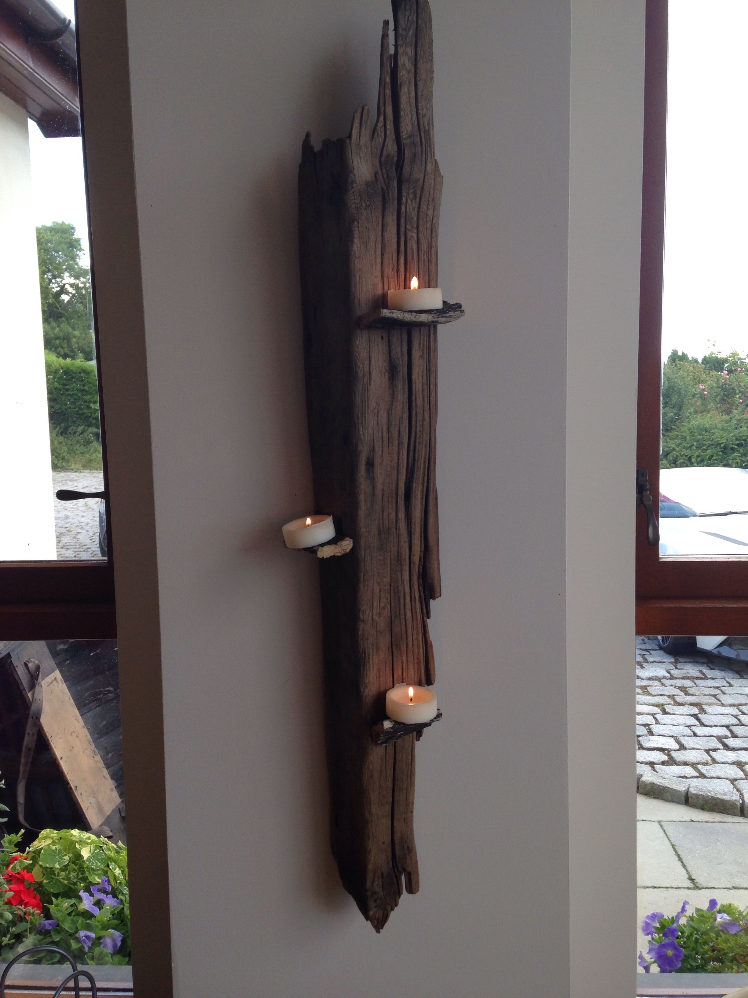 Driftwood candle inredning pinterest driftwood light design