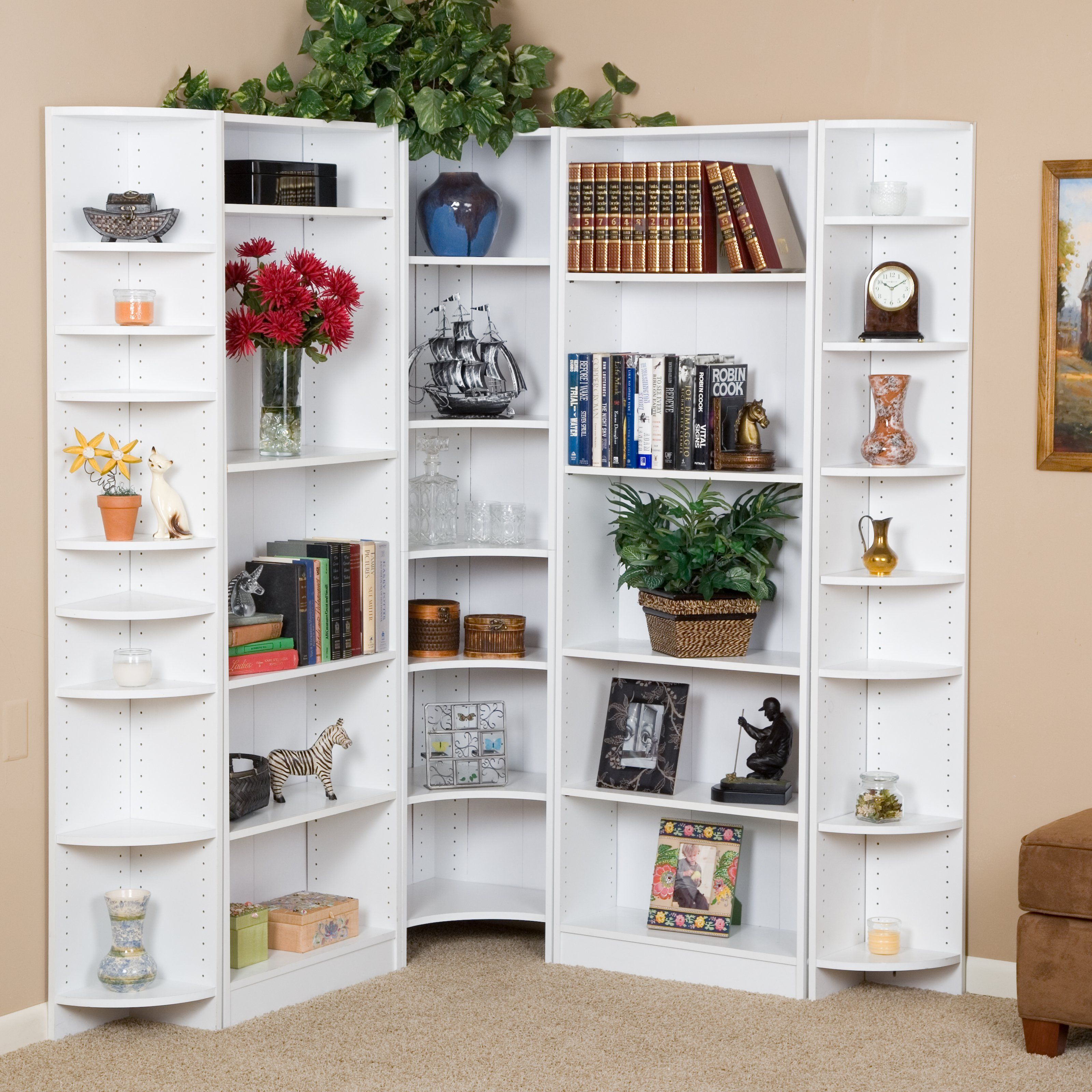 Have To Have It Premier Large Corner Bookcase Wall White 399 98 Bookcase Bookcase Wall Bookshelves