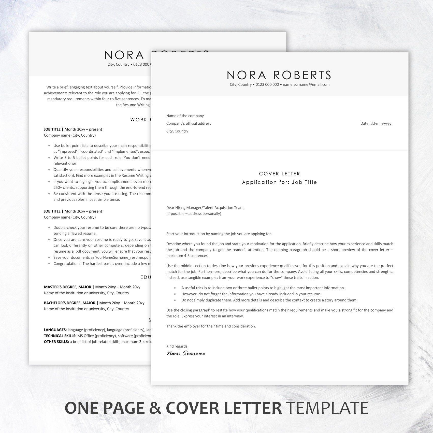 Executive Resume Template / Instant Download ATSfriendly