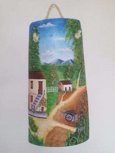 Tejas decorativas pintadas a mano teja con cromos y pintadas ornaments decor e home decor - Pintar tejas de barro ...