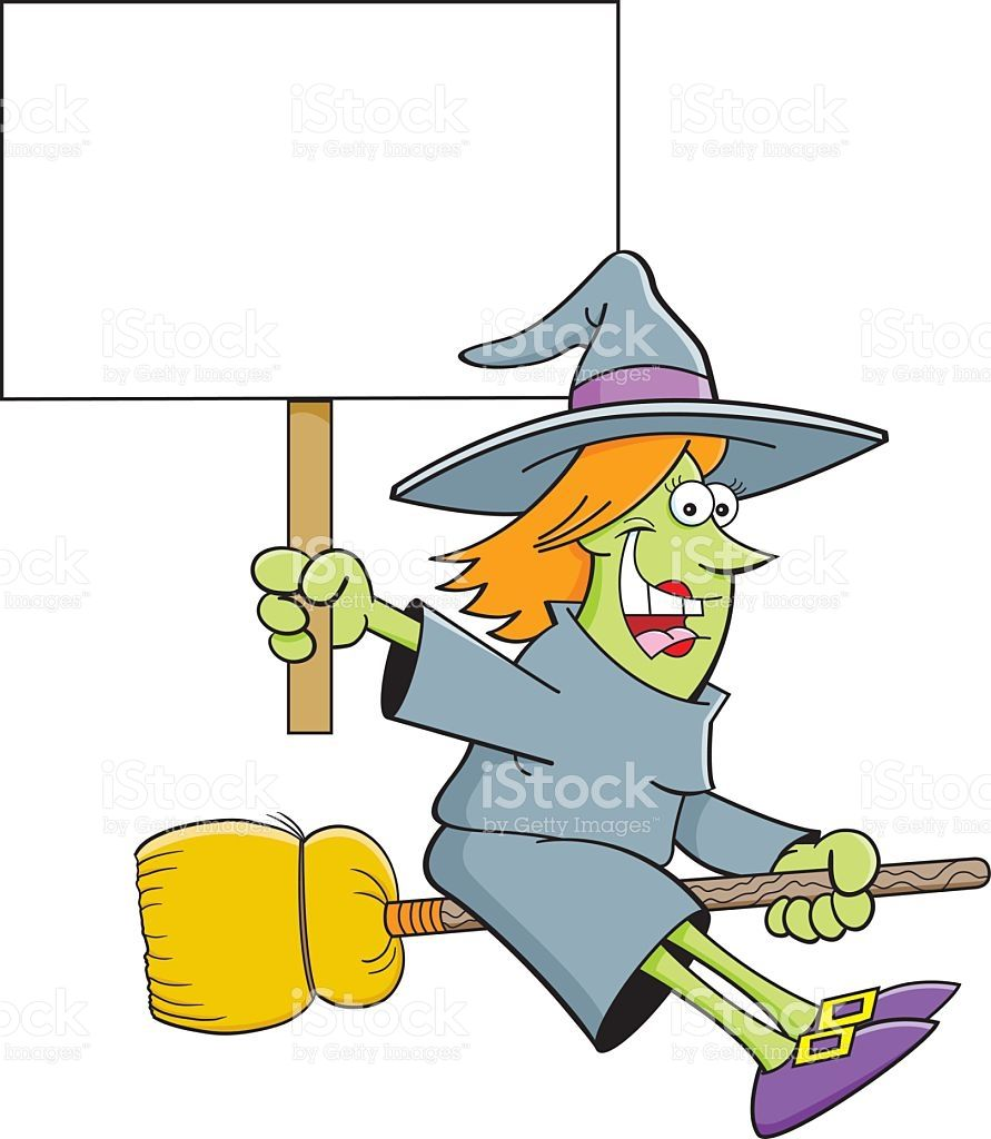 Cartoon illustration of a witch on a broom holding a sign | Escobas ...