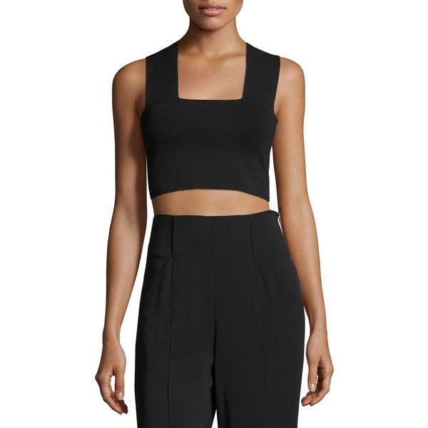 fc9dee0d08144f A.L.C. Ali Stretch Racerback Crop Top ($195) ❤ liked on Polyvore featuring  tops, white, women's apparel tops, a.l.c top, stretch top, racer back top,  ...