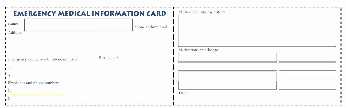 Medical alert card template beautiful wallet id card