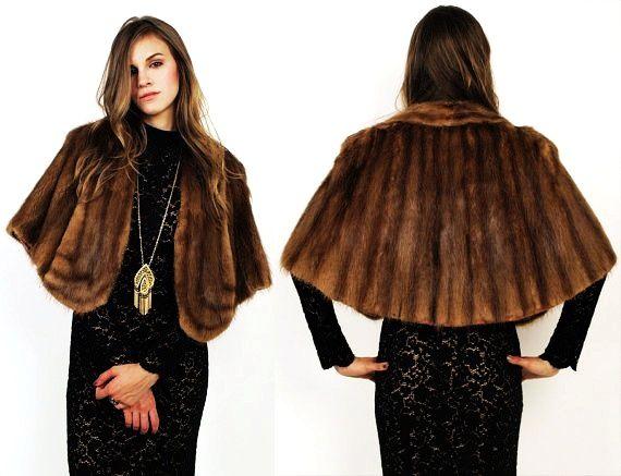 50's 60's Sable MINK FUR Cape Shawl Cape Coat Jacket | Mink ideas ...
