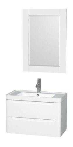 30 in Single Bathroom Vanity Set in Glossy White Acrylic resin