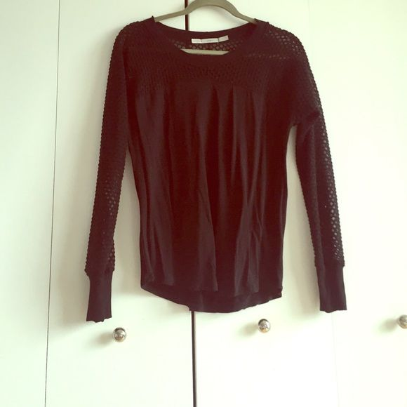 Black shirt with Sheer neckline and sleeves Good condition Tops