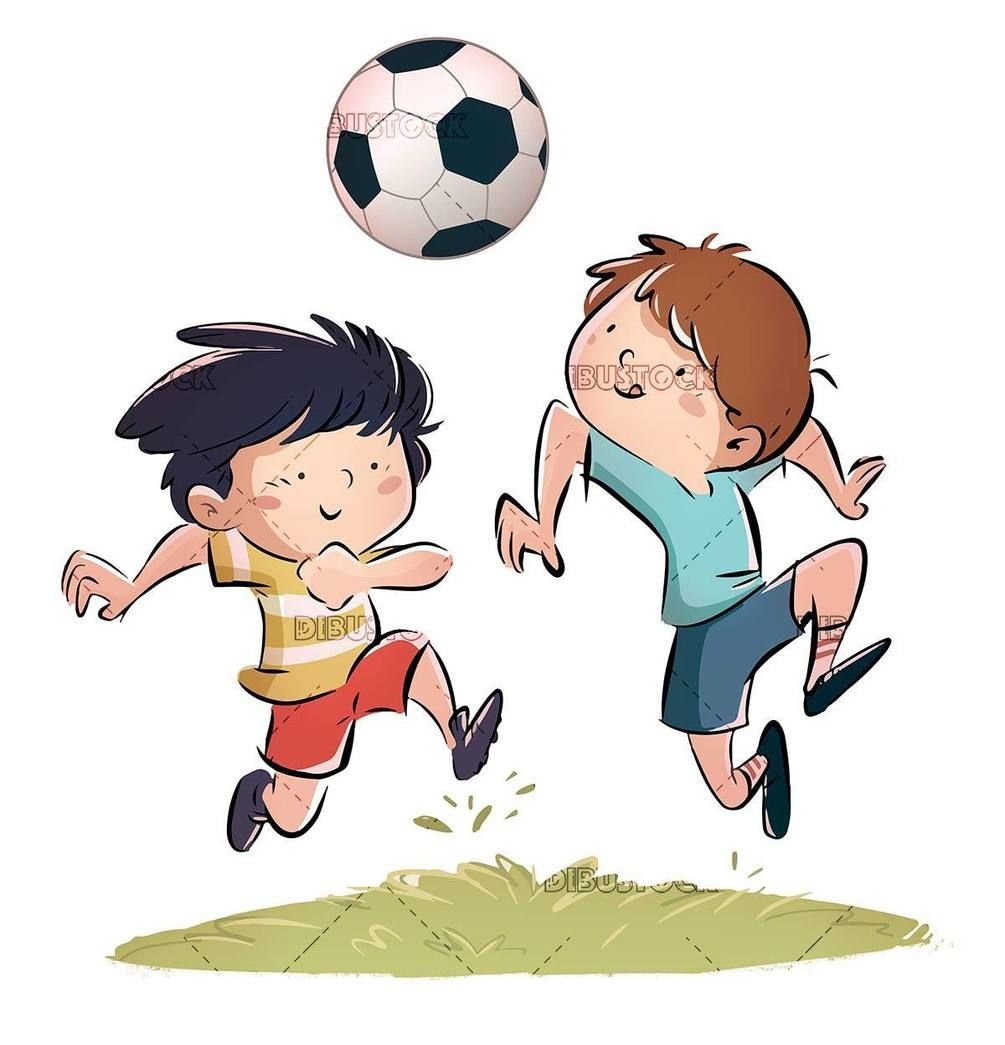 Two Kids Playing Soccer Isolated In 2020 Kids Playing Cartoon Faces Children Illustration