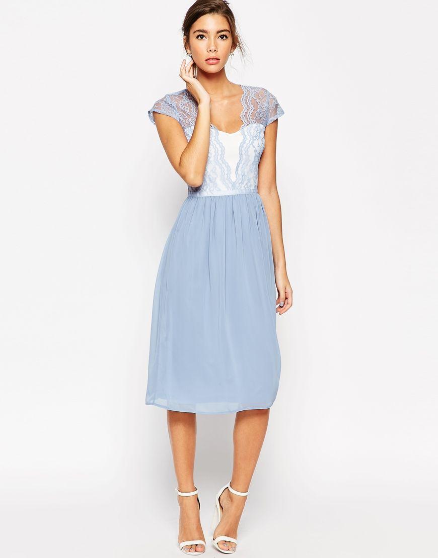 Kleid von ASOS Collection seidiger Stoff Herz-Dekolleté ...