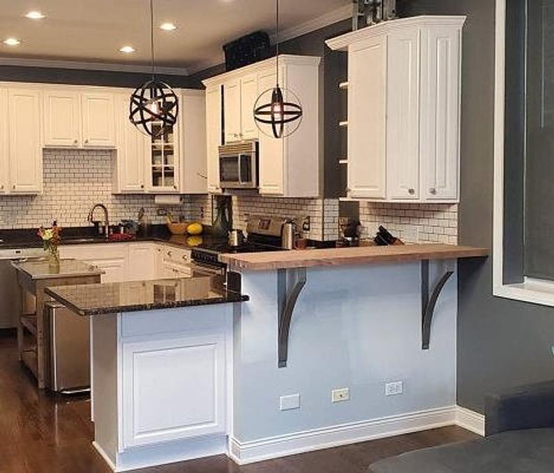 Structural Strength Steel Corbels For Kitchen Bar Snack Bar Etsy In 2020 Kitchen Bar Kitchen Remodel White Modern Kitchen