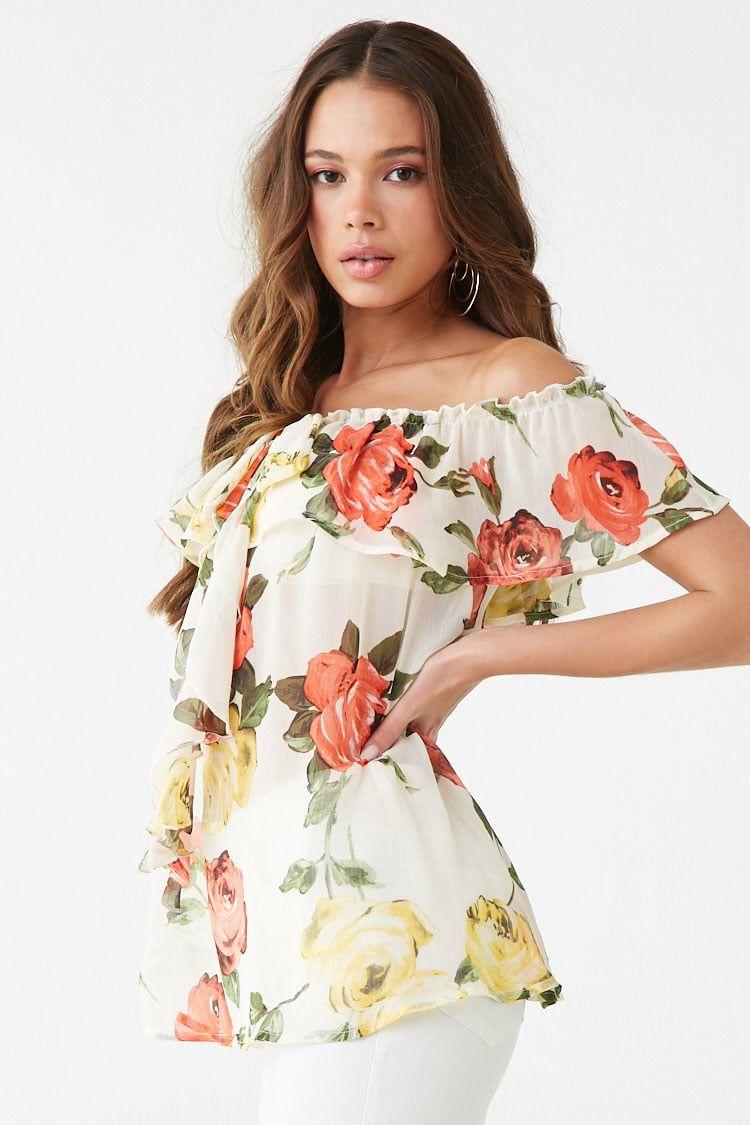 1f3db270859 Sheer Floral Off-the-Shoulder Flounce Top #Affiliate , #spon ...
