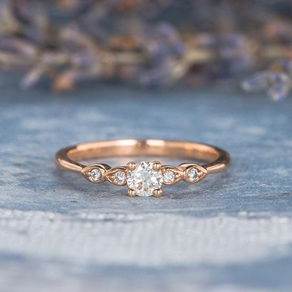 Diamond Engagement Ring Rose Gold Pave Retro Antique Thin