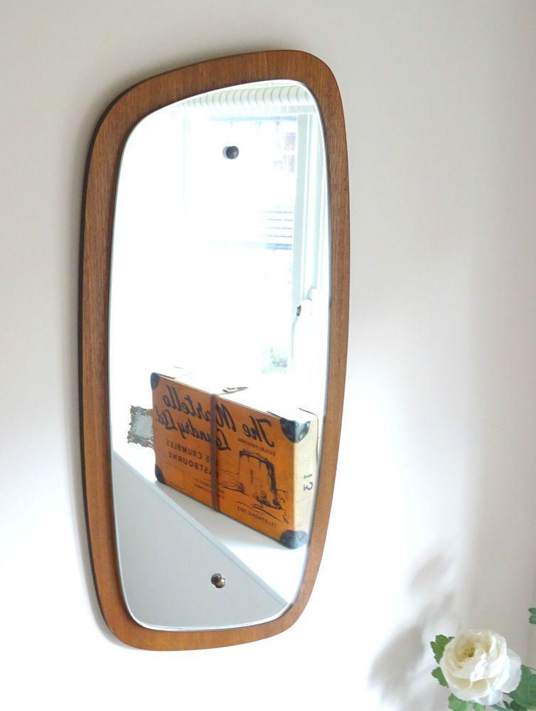 Vintage Retro Danish Teak Style Wood Wall Mirror Mid Century Ranella G Plan Era