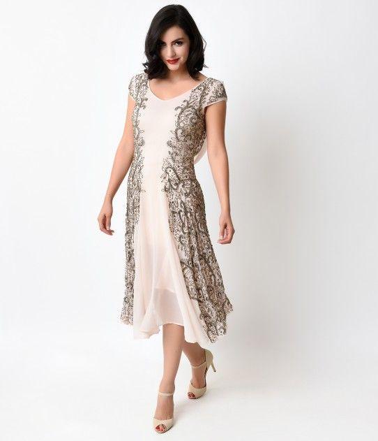 1930s Pink & Gold Beaded Chiffon Elysian Dress For Homecoming 2017