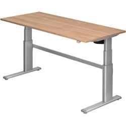 Sitz-Steh-Schreibtisch elektrisch Xd19 180x80cm Nussbaum Gestellfarbe: Silber HammerbacherHammerbach
