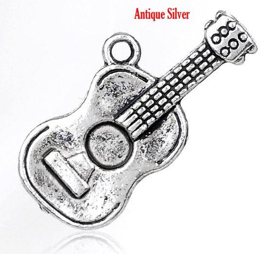 5 Stück Antik Silber Gitarre Charms von VossAvenueVintage auf Etsy