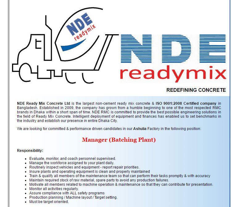 NDE Ready Mix Concrete Ltd Manager (Batching Plant) Job Circular - merchandiser job description