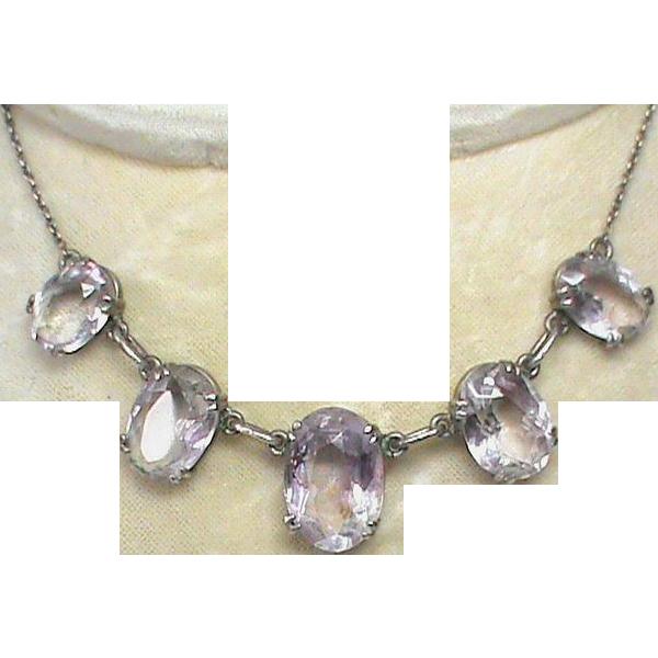 Vintage Art Deco Sterling Silver Amethyst Necklace