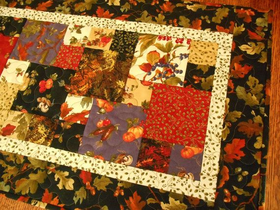 Quilted Fall Table Runner in Moda's Autumn Breeze by susiquilts