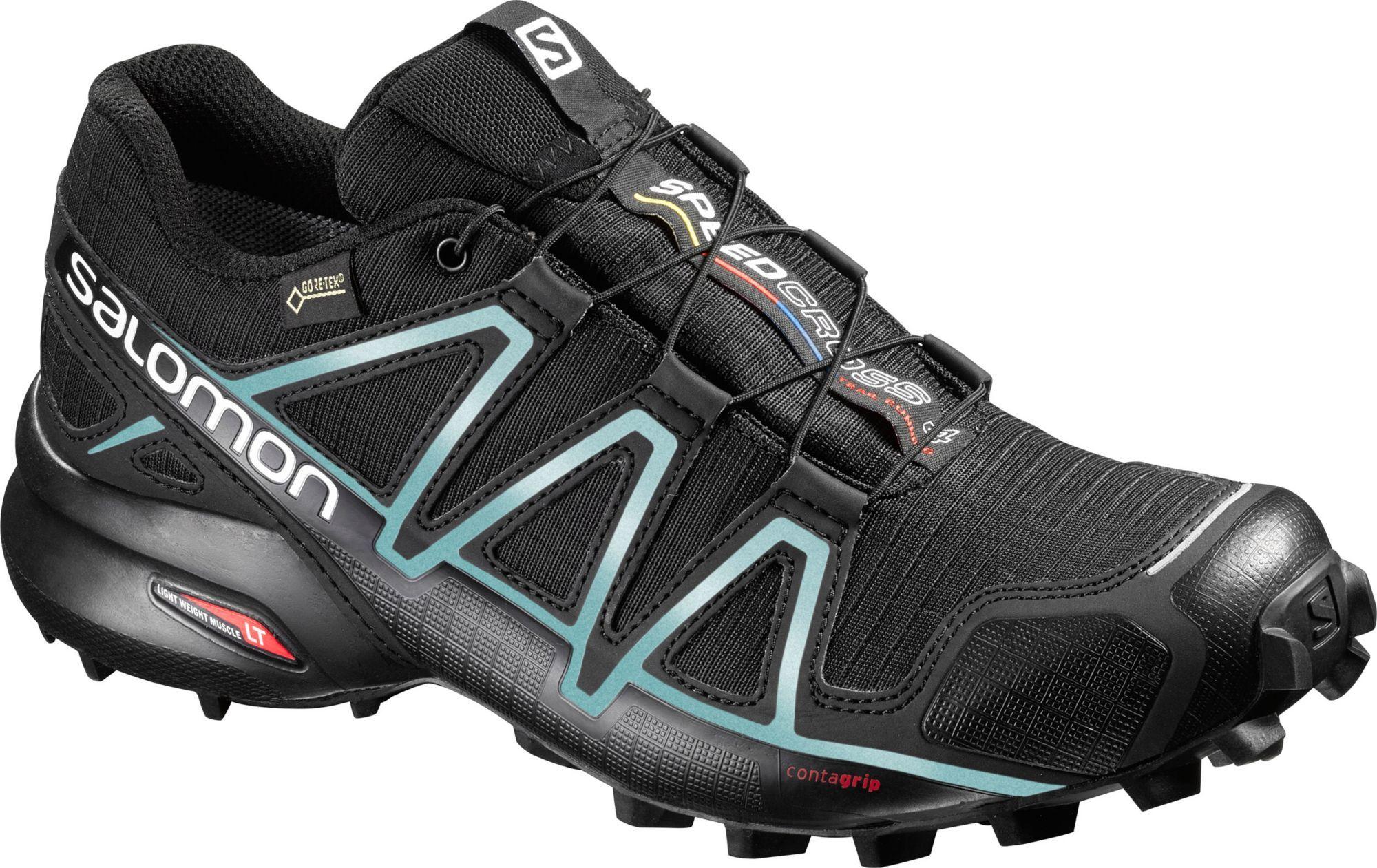 Salomona Women S Speedcross 4 Gtx Waterproof Trail Running Shoes Size 10 5 Black Trail Running Shoes Women Mens Trail Running Shoes Running Shoes