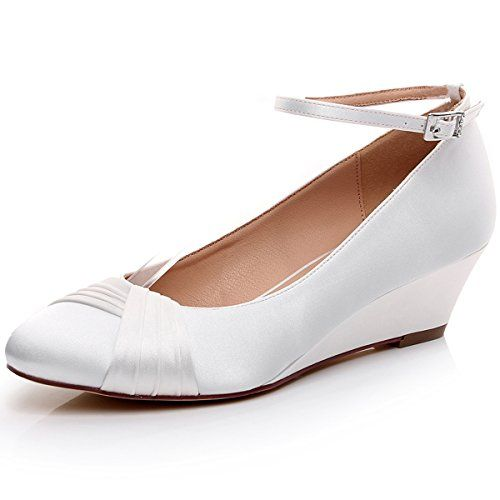 3f6dfa75ab2 LUXVEER Ivory Bridal Shoes Satin Women Shoes Low Heel 2 inch 2068IvoryEU40    Learn more by