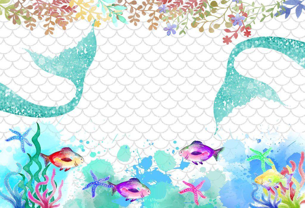 Mermaid Fish Scales With Fish Birthday Costum Backdrop Hu0504 Mermaid Theme Birthday Mermaid Theme Birthday Party Birthday Backdrop