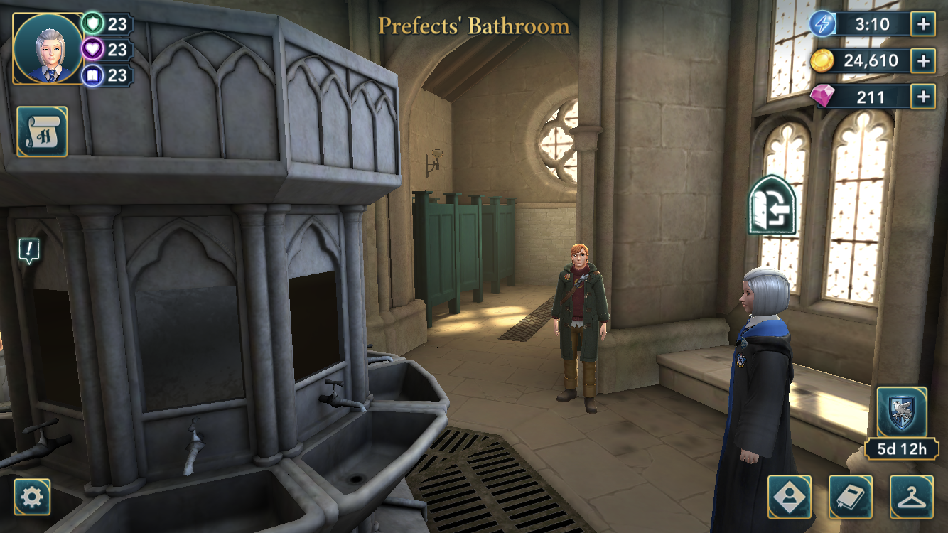 Hogwarts Mystery Game Myfirst Thought When I Saw The Prefects Bathroom Then That Sink Hmm Check For A Snake On The Han Hogwarts Mystery Mystery Games Hogwarts