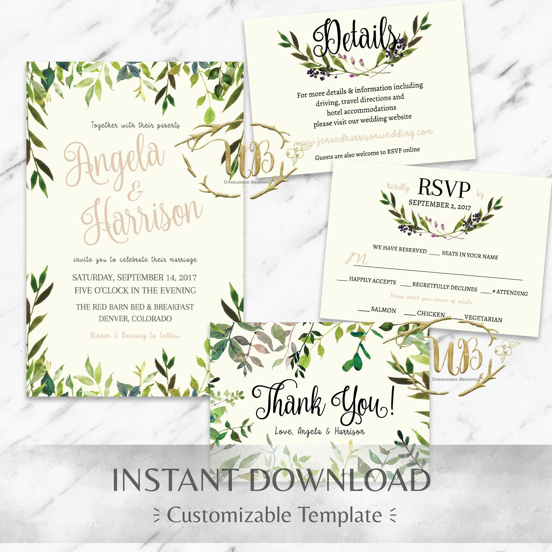 Botanical Wedding Invitation Suite Greenery Wedding Invitation - Wedding invitation templates: hotel accommodations template for wedding invitations