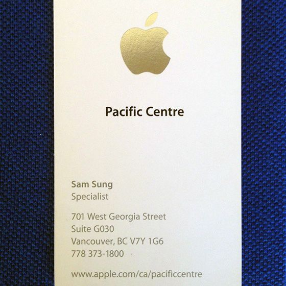 Apple Specialist Sam Sung Is Selling His Last Business Card For Charity Apple Business Cards Branding Design