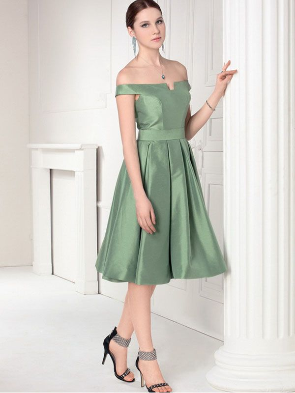 Exquisite Off The Shoulder Satin Knee Length Latest Cocktail Dress ...