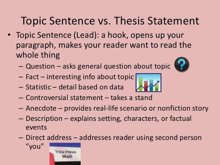 Topic Sentence Vs. Thesis Statementu2022 Topic Sentence (Lead): A Hook,