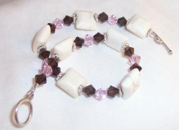 Bracelet, Pink brown white bracelet by earthlietreasures for