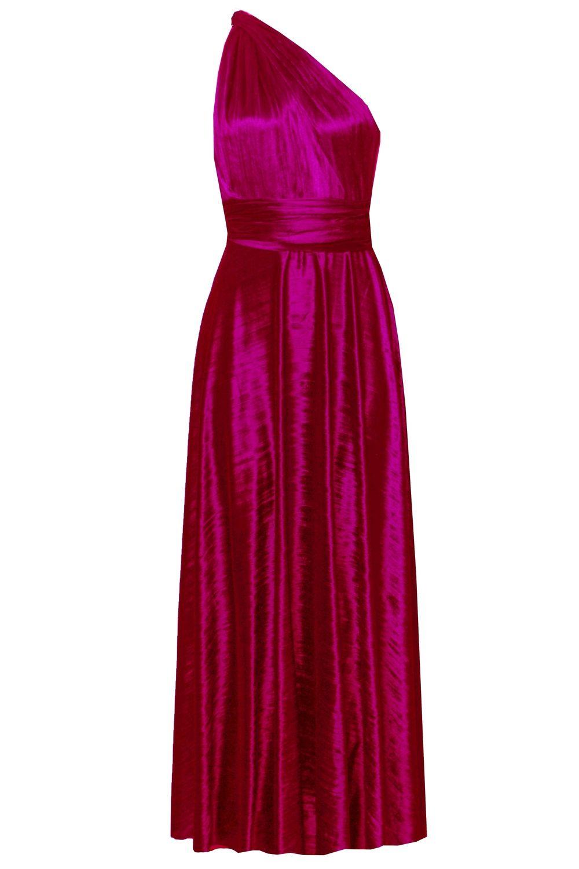 Hot pink maxi dress  Infinity Dress Crushed Velvet Maxi Gown Bridesmaids Hot Pink Dress