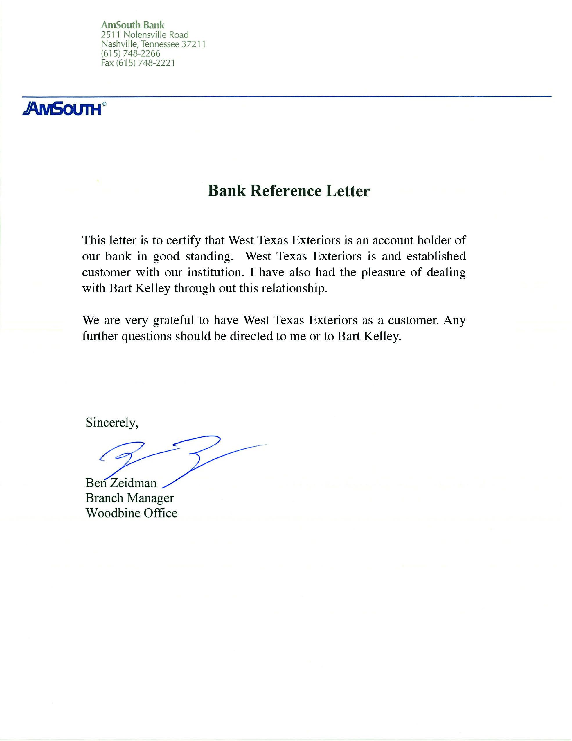 Character Reference Letter For Bank Fresh Reference Letter From