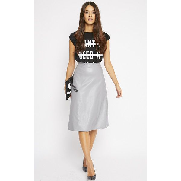 Heidi Grey Leather A Line Midi Skirt (€12) ❤ liked on Polyvore ...
