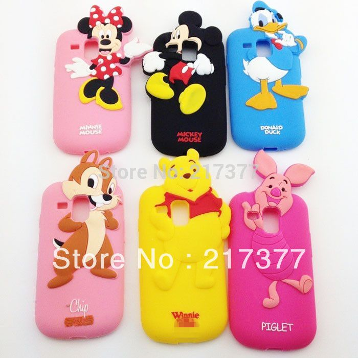 3D Mickey Mouse Duck Pig Winnie Chipmunk Soft Silicone Back Cover Phone Case For Samsung GT-I8190 Galaxy S3 Mini Free Shipping