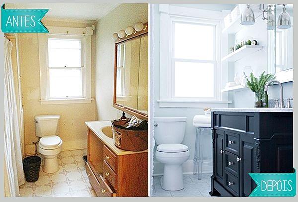 Antes e Depois - Banheiro repaginado | Blog Dactylo