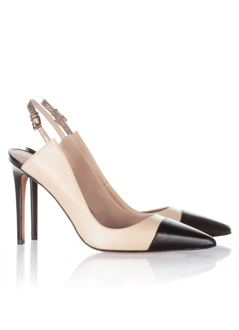 fe65f80315ee Pura Lopez Helma- Two-tone shoes by Pura Lopez with high heel and pointed  toe.