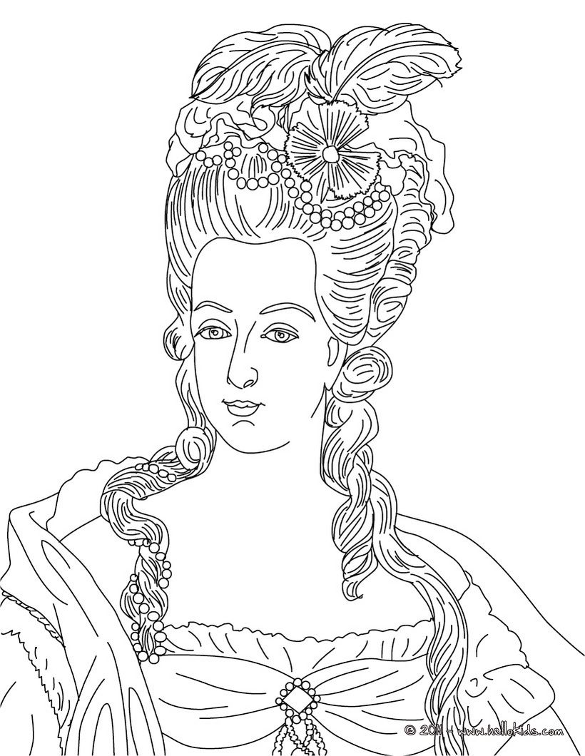French Kings And Queens Coloring Pages Marie Antoinette Queen Of France Coloring Pages People Coloring Pages Marie Antoinette