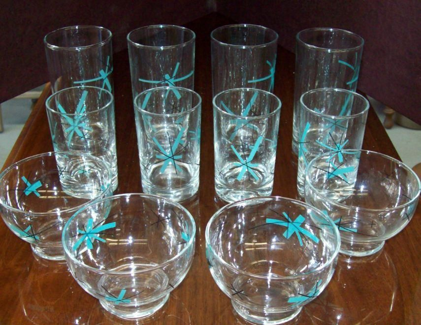Vintage mid century modern salem north star starburst glasses dish me do pinterest mid - Starburst glassware ...