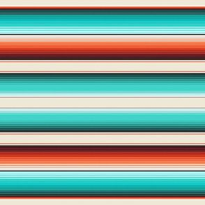 Fabric Southwest Serape Blanket Stripes in Navajo White, Turquoise and Burnt Orange