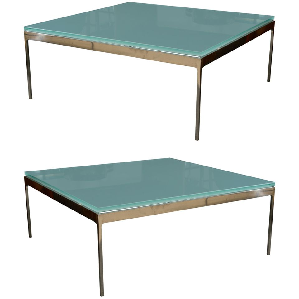 1stdibs Sleek Steel Frosted Gl Coffee Table By Nicos Zographos